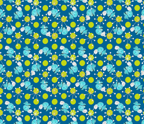 Atomic Elephant Blue/Green colorway fabric by sculptor on Spoonflower - custom fabric