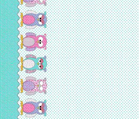 Feedsack_Owls_border fabric by shirlene on Spoonflower - custom fabric