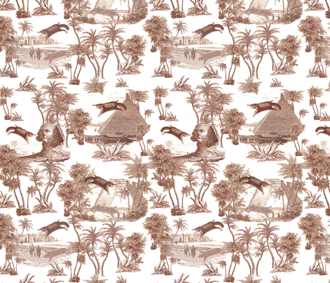 Giant flying squirrel attack toile-TAUPE fabric by thirdhalfstudios on Spoonflower - custom fabric