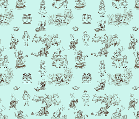 alice_in_wonderland_toile fabric by mytinystar on Spoonflower - custom fabric