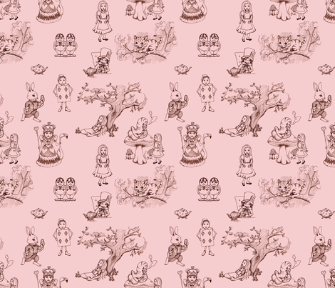 alice in wonderland toile in pink fabric by mytinystar on Spoonflower - custom fabric