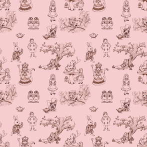 alice in wonderland toile in pink