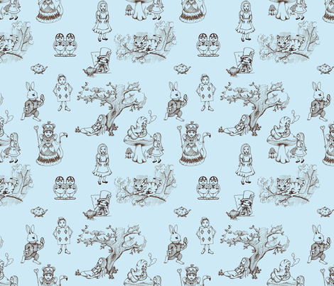 alice in wonderland toile blue fabric by mytinystar on Spoonflower - custom fabric