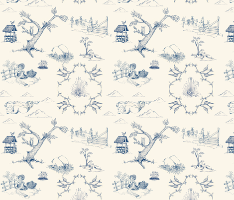 toile_bluecream fabric by adriprints on Spoonflower - custom fabric