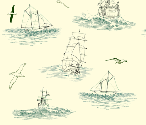tallships_toile fabric by bowsprite on Spoonflower - custom fabric