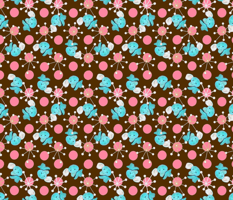 Atomic Elephant Brown/Pink colorway fabric by sculptor on Spoonflower - custom fabric