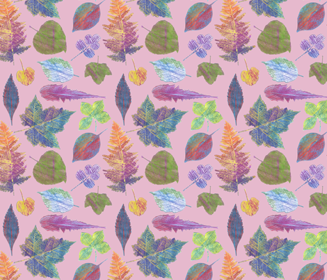 autumn leaves pink fabric by weavingmajor on Spoonflower - custom fabric