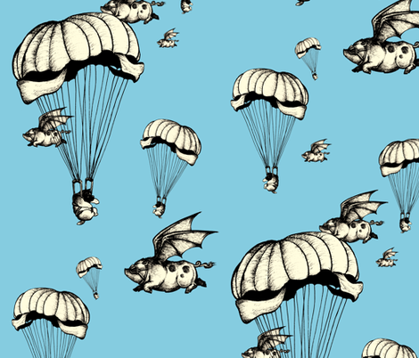Puppachutes and flying piggies fabric by tinet on Spoonflower - custom fabric