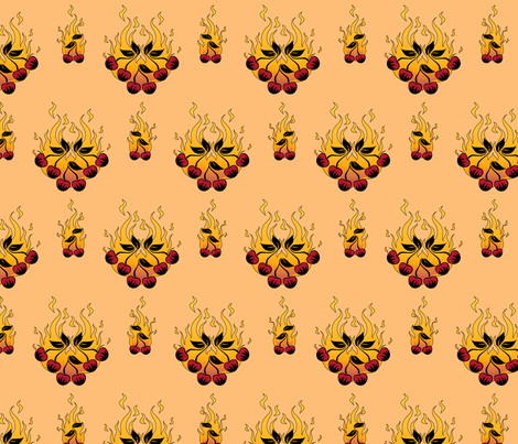 Flaming Cherry Tattoo Large - A fabric by voodoorabbit on Spoonflower - custom fabric