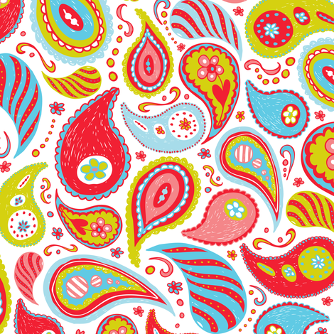 Power Paisley - Red & Aqua fabric by heatherdutton on Spoonflower - custom fabric