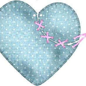 Denim Stitched Heart