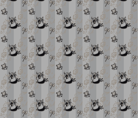 Boston Terier Dark Viking Stripes fabric by woebegoneart on Spoonflower - custom fabric