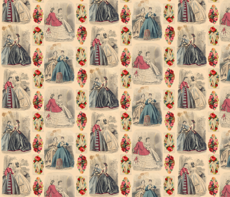 Victorian Fashion Plates fabric by poshcrustycouture on Spoonflower - custom fabric