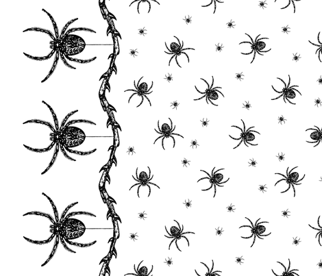 Spider Border (black on white) fabric by ophelia on Spoonflower - custom fabric