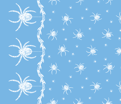 Spider Border (blue) fabric by ophelia on Spoonflower - custom fabric