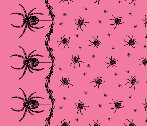 Spider Border (pink) fabric by ophelia on Spoonflower - custom fabric
