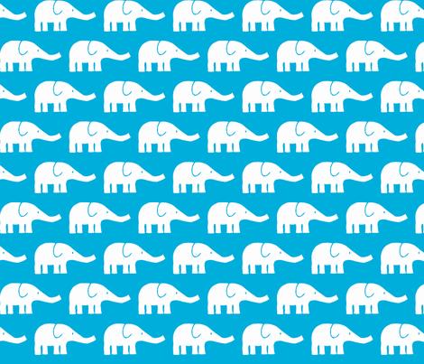 MEDIUM Elephants in teal  fabric by katharinahirsch on Spoonflower - custom fabric