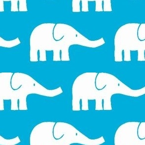 MEDIUM Elephants in teal