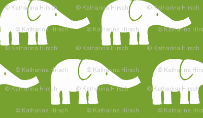 MEDIUM Elephants in green
