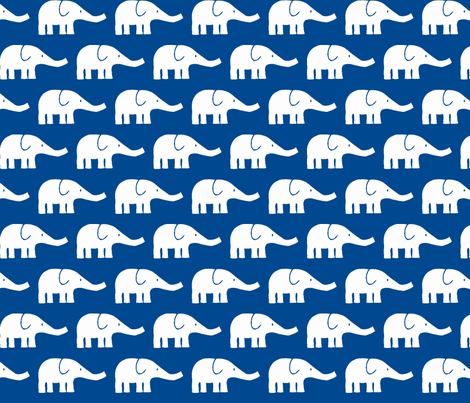 MEDIUM Elephants in blue fabric by katharinahirsch on Spoonflower - custom fabric
