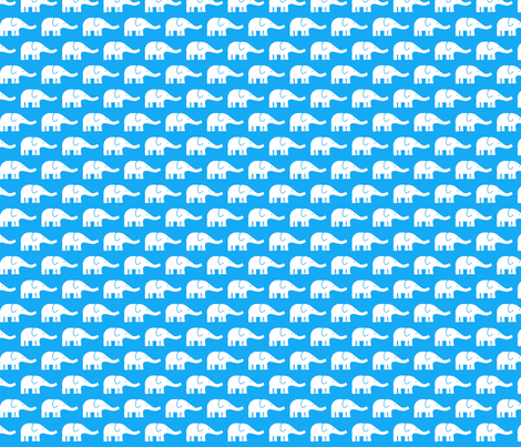 SMALL Elephants in blue fabric by katharinahirsch on Spoonflower - custom fabric