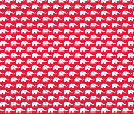 SMALL Elephants in red  fabric by katharinahirsch on Spoonflower - custom fabric