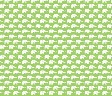 SMALL Elephants green fabric by katharinahirsch on Spoonflower - custom fabric