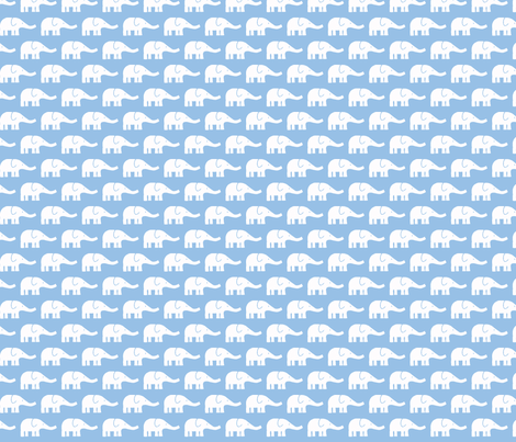 SMALL Elephants light blue fabric by katharinahirsch on Spoonflower - custom fabric
