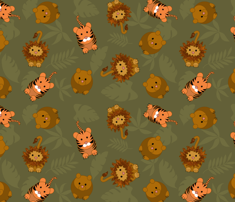 lion_and_tiger_jumble_contest_T fabric by vo_aka_virginiao on Spoonflower - custom fabric