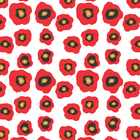 Red Flowers Small Scale fabric by empireruhl on Spoonflower - custom fabric