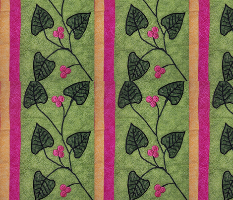 Embroidered leaves fabric by susiesunshine on Spoonflower - custom fabric