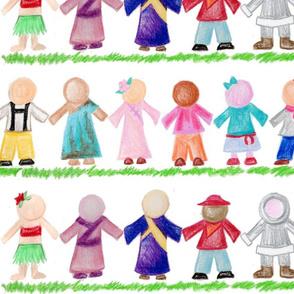 International Children Paper Dolls in Crayon