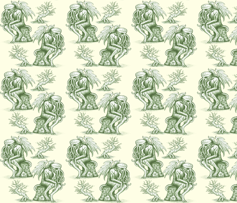 Picnic with Cthulhu  - Green on Cream fabric by jenithea on Spoonflower - custom fabric