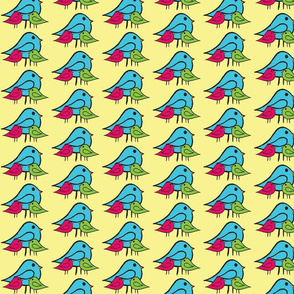 3 Little Birdies Fabric pink green blue