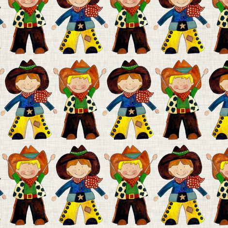 little cowboys natural linen fabric by scrummy on Spoonflower - custom fabric