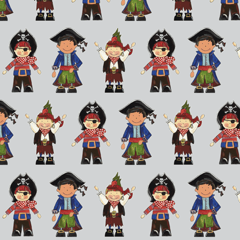 scrummy pirates grey fabric by scrummy on Spoonflower - custom fabric