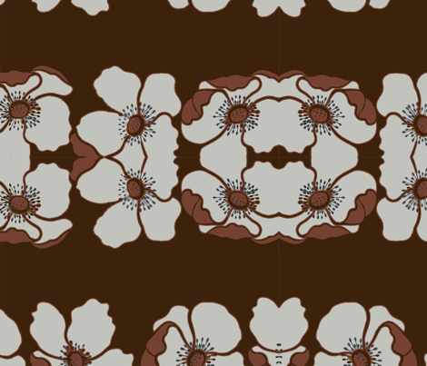 brown_background_flowers fabric by snork on Spoonflower - custom fabric