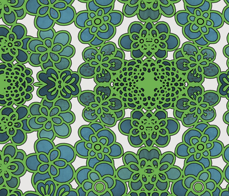 green_vintage_flowers fabric by snork on Spoonflower - custom fabric