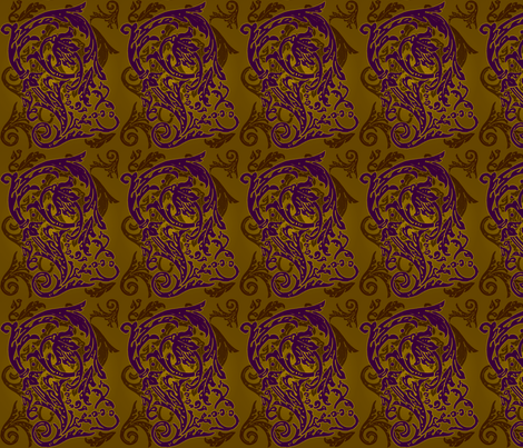 Baroque Curlicue in Gold and Purple fabric by jenithea on Spoonflower - custom fabric