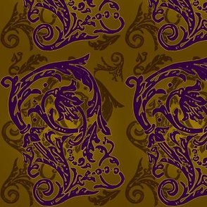 Baroque Curlicue in Gold and Purple