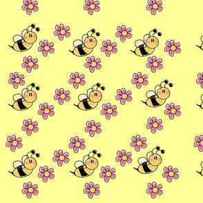 Flowers and cute bees