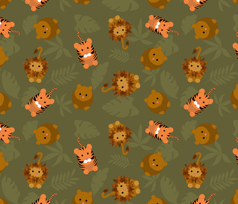lion_and_tiger_jumble_14_T_tiled fabric by vo_aka_virginiao on Spoonflower - custom fabric