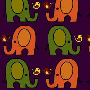 Elephants and birds purple