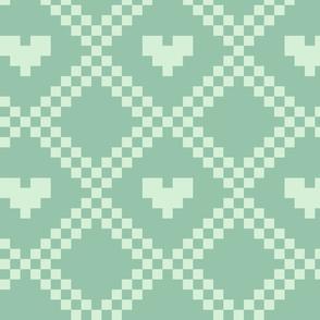 pixel hearts - aqua