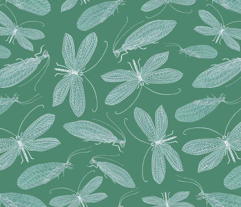 Green Lacewing fabric by jasmo on Spoonflower - custom fabric