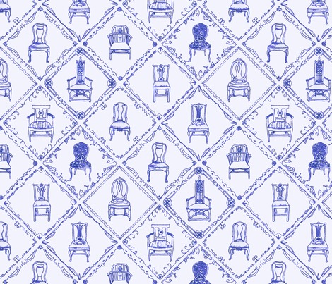 Antique Chairs Blue fabric by jasmo on Spoonflower - custom fabric