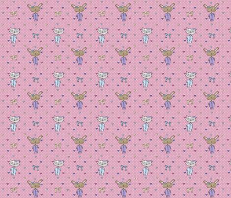 Kitties & Bunnies fabric by emilykariya on Spoonflower - custom fabric
