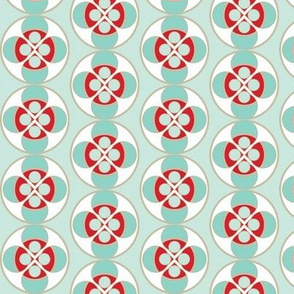 seafoam and red buttons