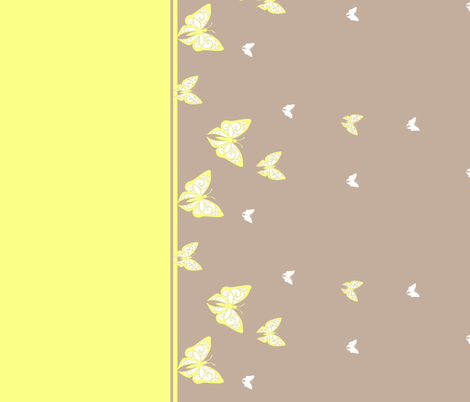 Butterfly_border_khaki_bright yellow fabric by ali_c on Spoonflower - custom fabric