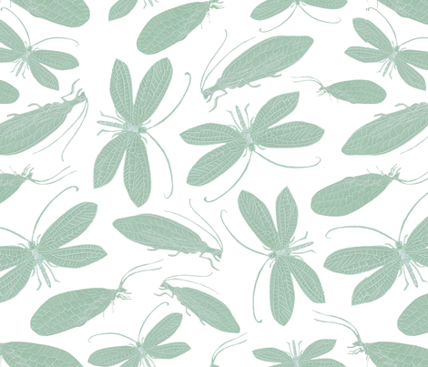 Green lacewing on white fabric by jasmo on Spoonflower - custom fabric